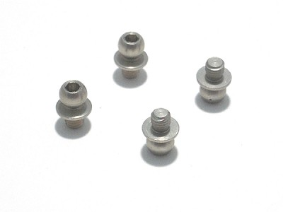 RSD 4.3mm 7075 T6 Hard Anodized Aluminum Ball Ends - 4 pcs. (3mm thread -1mm height)